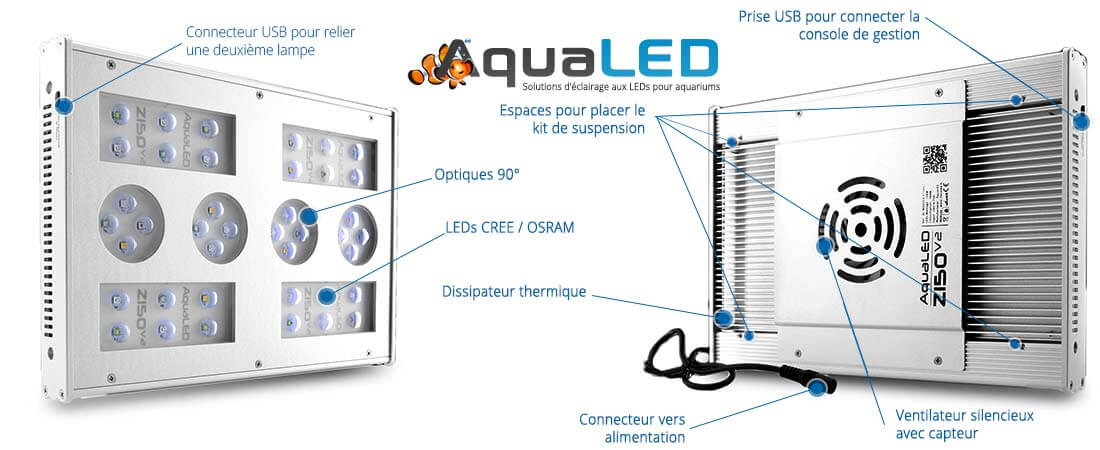lampe recifal aquarium Z150 V2 aqualed en détail
