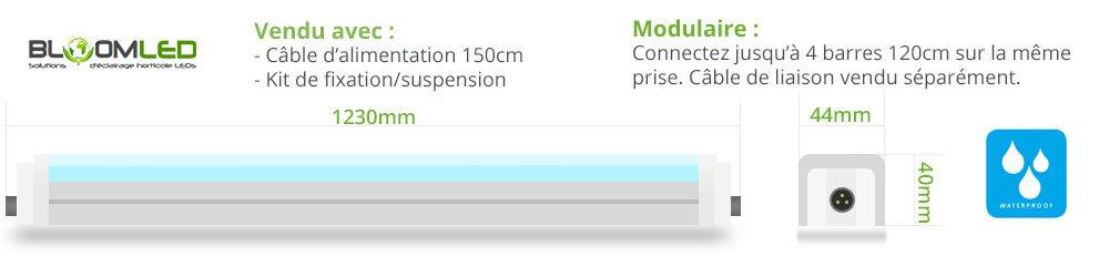 taille barre led horticole spectraline etanche waterproof 120cm