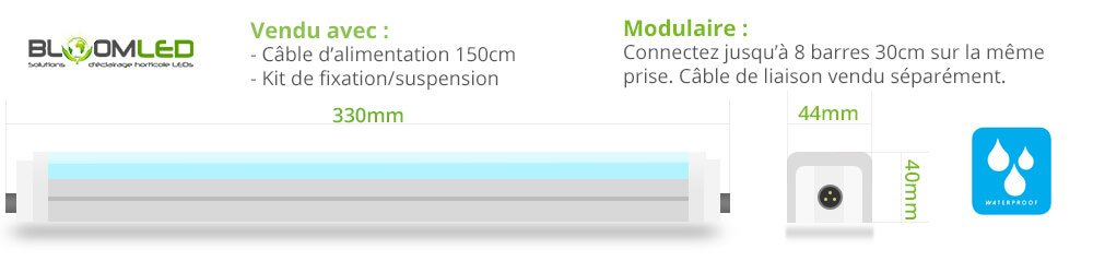 taille barre led horticole spectraline etanche waterproof 60cm