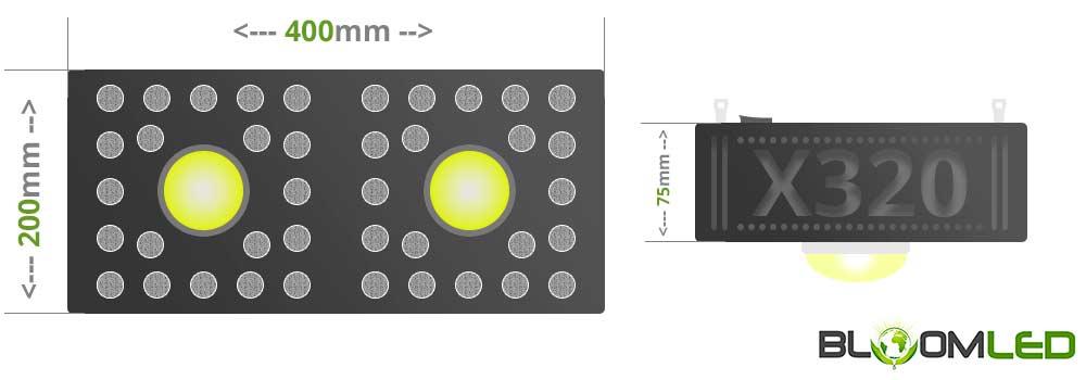 taille de la lampe horticole spectrapanel x320